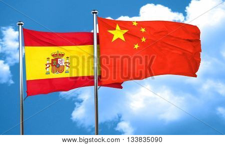 Spanish flag with China flag, 3D rendering