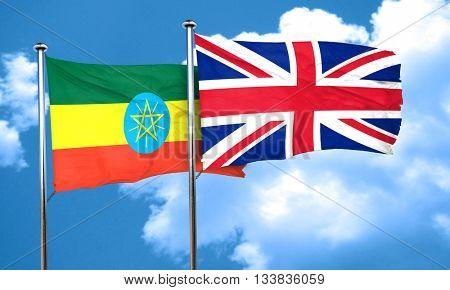 Ethiopia flag with Great Britain flag, 3D rendering