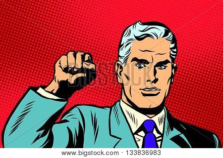 Politician protest solidarity gesture up fist activist pop art retro vector. They will not pass the gesture of the Communist international