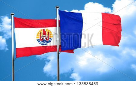 french polynesia flag with France flag, 3D rendering