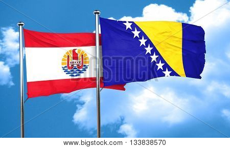 french polynesia flag with Bosnia and Herzegovina flag, 3D rende poster