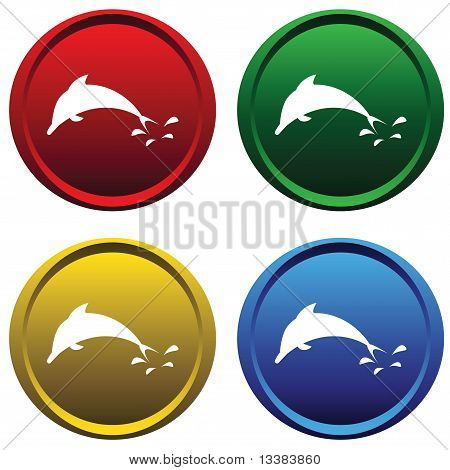 Four multi-colored, plastic buttons with a dolphin on a white background poster