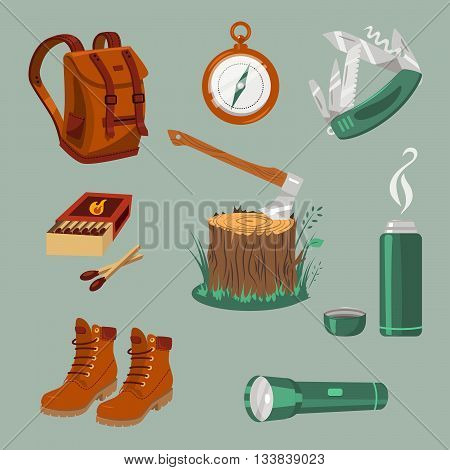 Camping equipment. Isolated vector objects on gray background.