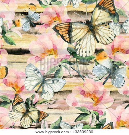 Watercolor briar flowers and butterfly seamless pattern. Dog Rose branches on golden ink striped background. Hand painted illustration vintage inspired with paper texture