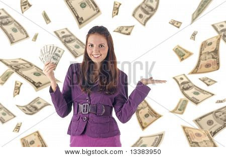Presenting things. Businesswoman on dollars background