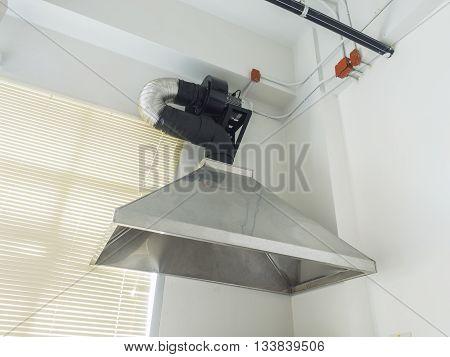 stainless steel metal ventilating chimney installed interior poster