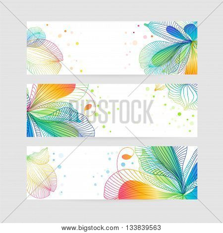 Set of floral banners, flower design, colorful template