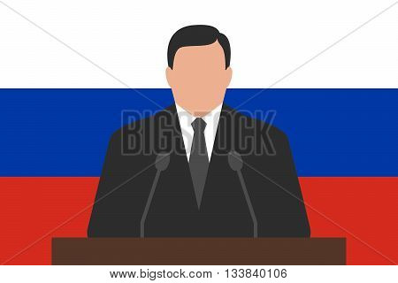 Politician is standing behind podium, flag of Russia at background