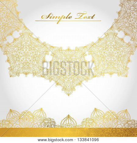 Mandala pattern, background.Vintage decorative ornament and background. East and Islam, Arabic, Indian, motifs and revival swirling.Ethnic texture.Orient, symmetry lace.Wedding and holiday greeting card.Gold, white