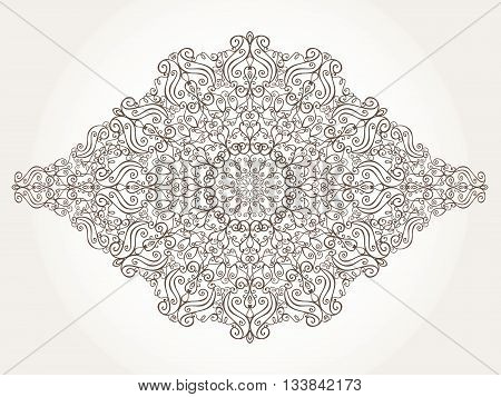 Mandala pattern and background.Vintage decorative ornament and background. East, Islam, Arabic, Indian, motifs and revival swirling.Ethnic texture.Orient, symmetry lace, fabric and wallpaper.Wedding and holiday card.