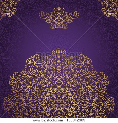 Mandala pattern and background.Vintage decorative ornament and background.East, Islam, Arabic, Indian, ottoman motifs and revival swirling.Gold, violet Abstract Tribal and ethnic texture.Orient, symmetry lace, wallpaper.