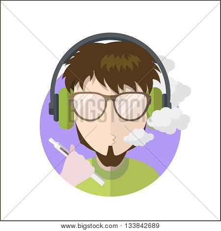 Avatar vape profile picture flat icon, vaping people character. Trendy beard and glasses.