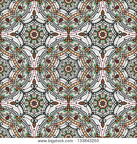 Mandala seamless pattern.Vintage vector decorative ornament and background. East, Islam, Arabic, Indian, ottoman and Orient motifs.Abstract Tribal, ethnic texture. Symmetry colored mosaic, tile, fabric and wallpaper
