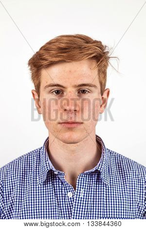 Portrait Of Handsome Teenager With Red Hair