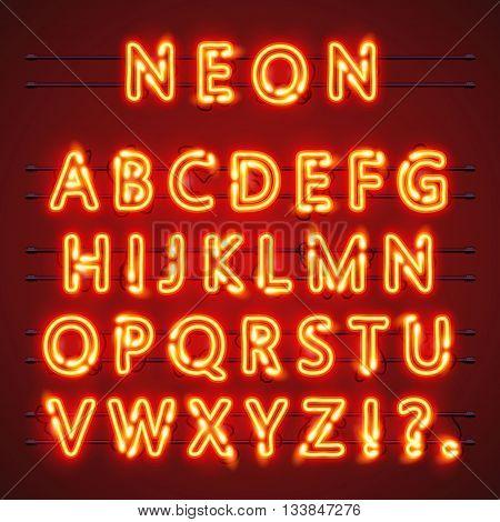 Neon font text. Neon font eps. Lamp font. Alphabet font