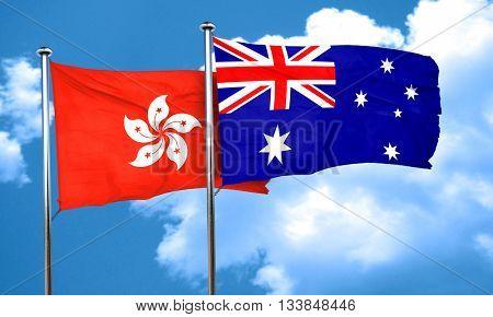hong kong flag with Australia flag, 3D rendering