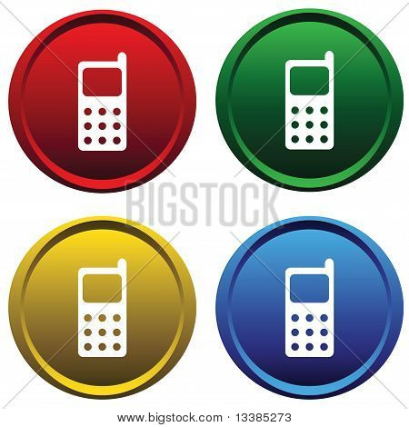 Plastic buttons with a cell phone