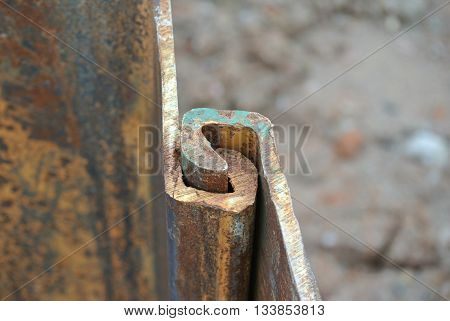 MALACCA, MALAYSIA -SEPTEMBER 25, 2015: Temporary steel sheet retaining wall using sheet pile cofferdam method holding outside soil from collapse into pile pits