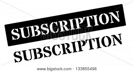 Subscription Black Rubber Stamp On White