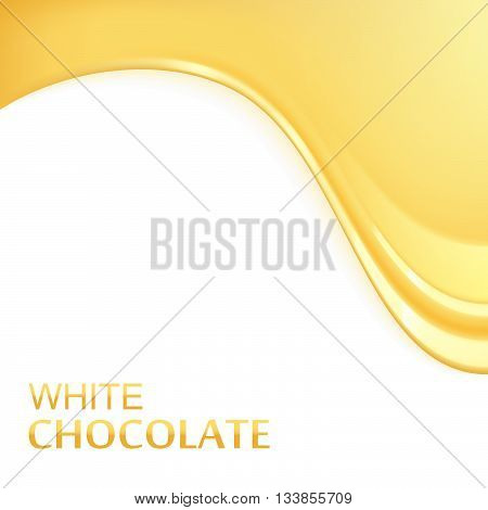 Melted white chocolate vector illustration. Flowing chocolate. Melted white chocolate dripping. Yellow glaze background.