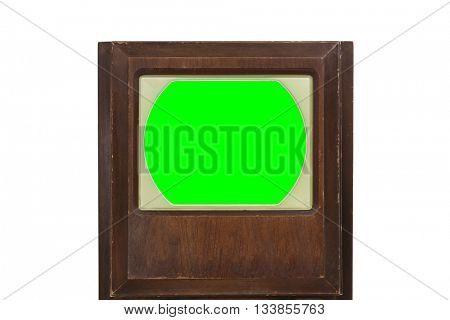 Vintage 1950's television with chroma green screen.