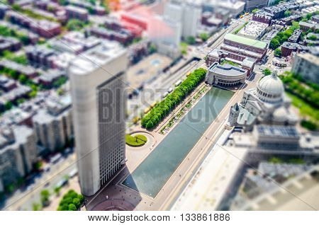 Aerial View Of Central Boston, Usa. Tilt-shift Effect Applied