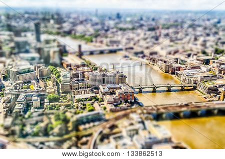 Panoramic View Of London. Tilt-shift Effect Applied