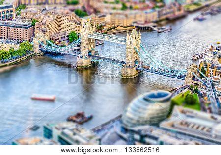 Aerial View Of Tower Bridge, London. Tilt-shift Effect Applied