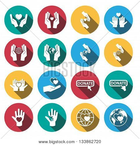 Flat long shadow charity sign and symbol icon set.vector.