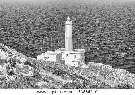 The iconic lighthouse of Capo d'Otranto in Salento Apulia is Italy's most easterly point poster