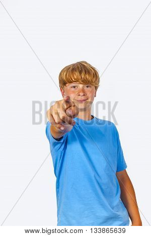 Boy Showing With His Arm In The Foreward Direction