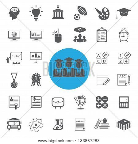 Education icons set on white background . vector