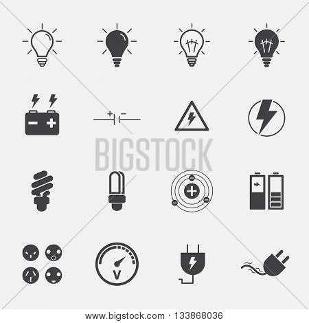 Electricity sign and symbol icons set . vector