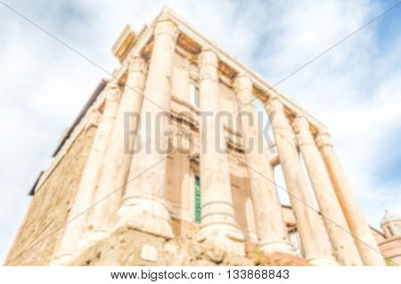 Defocused Background With Ancient Ruins Of The Roman Forum, Rome