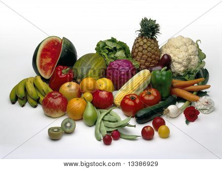 Still-life with fruits and vegetables food on a white background