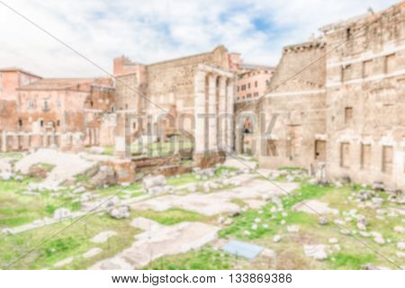 Defocused Background With Ruins At Forum Of Augustus, Rome, Italy