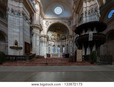 PAVIA ITALY - APRIL 25 2016: The interior of the Pavia's Cathedral a fine example of the Renaissance architecture is covered with the snow-white marble tiles of Ornavasso Angera and Carrara.