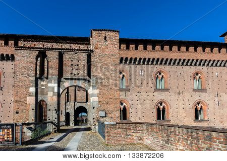 PAVIA ITALY - APRIL 25 2016: Visconti Castle of Pavia built in 1360 by Galeazzo II Visconti has become the Civic Museum of Pavia