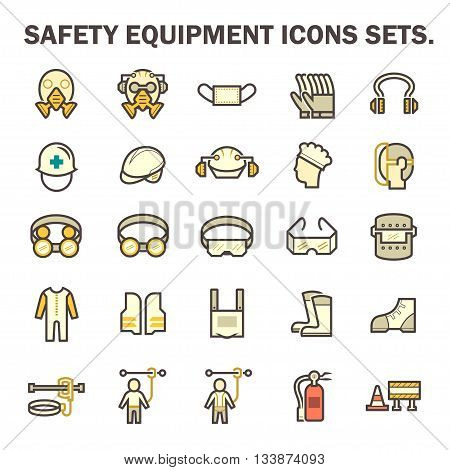 Safety equipment and tool vector icon sets design.