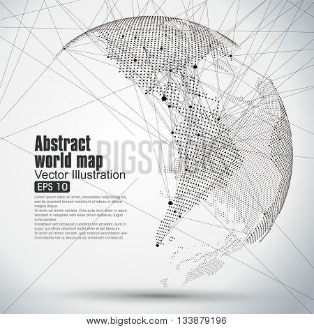 Three-dimensional abstract planet Dot world map consisting of representing the global