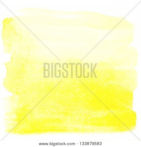 Yellow watercolor background. Square watercolor banner isolated on white with paper texture