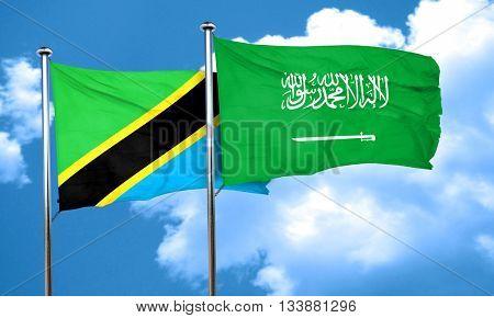 Tanzanian flag with Saudi Arabia flag, 3D rendering