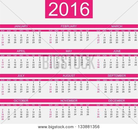 CALENDAR 2016 SIMPLE STYLE FUCHSIA for web and other