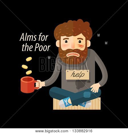 Street beggar. Unemployed, homeless icon Alms vector illustration