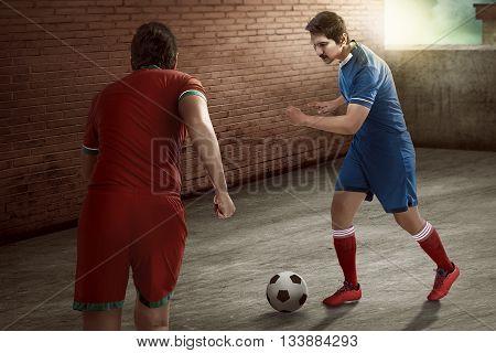 Football Player Dribbling Ball Intercepted