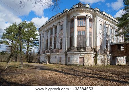LENINGRAD REGION, RUSSIA - APRIL 24, 2016: April day in the old manor Demidov. Historical landmark of the city Thais, Leningrad region, Russia