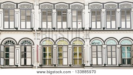 Old building, Beautiful white facade with lots of windows
