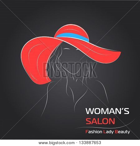 Vector illustration. Handdrawing. Silhouette woman in red hat on black background. Banner or card template for womans shop or salon. For sale card