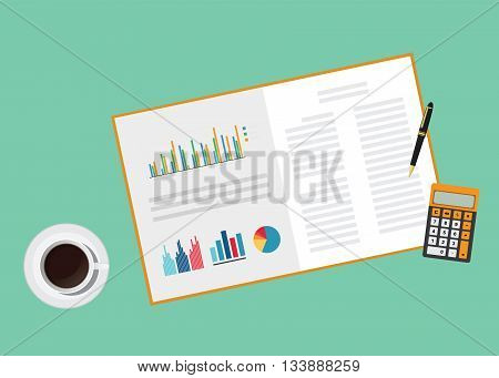 business proposal document paper work with graph calculator pen and coffee vector graphic illustration