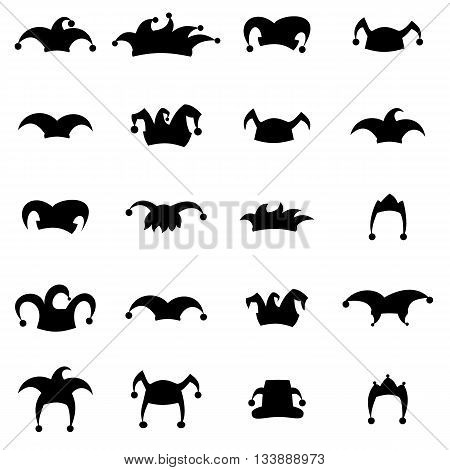 Set caps jester silhouette isolated on white background. Hat icon set.